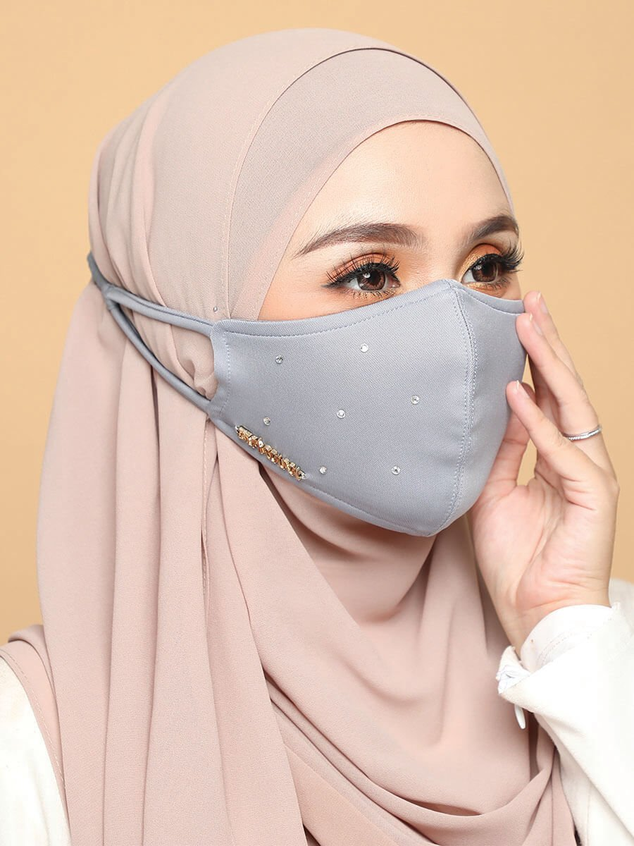 Diamond Facemask – Greyish Blue