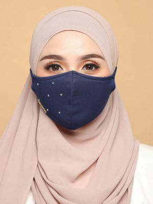 Diamond Facemask – Navy Blue