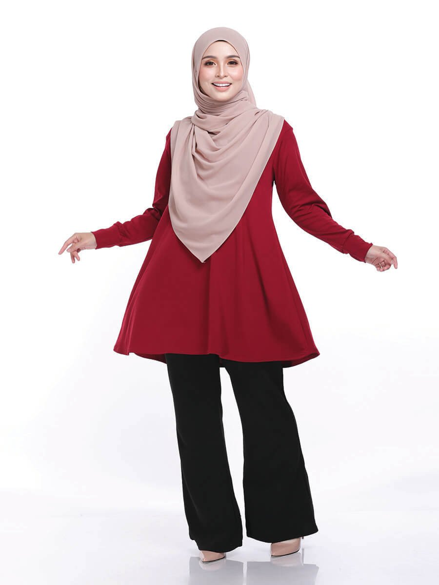 Laura Basic Blouse in Maroon