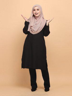 Raeesa Long Top in Black