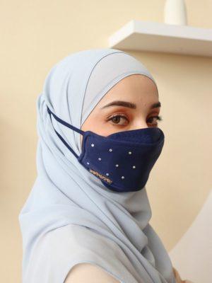 Luxe Diamond Facemask – Navy Blue